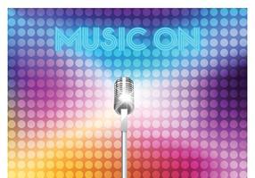 Microfone de prata de vetor livre em luzes coloridas