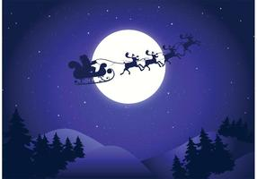 Gratis Vector Santa Sleigh Bakgrund