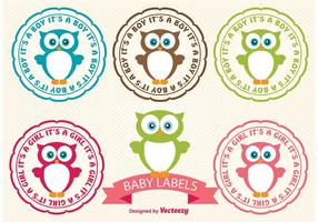Etiquetas da coruja do bebê