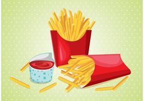 Patatas fritas con salsa vectorial