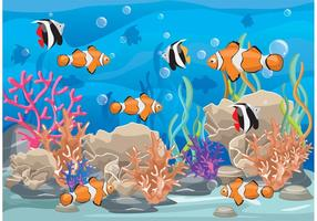 Récif de corail avec vecteur de poisson