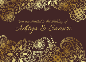 Vector Golden Indian Wedding Card