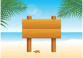 Wooden Billboard For Beach Vector