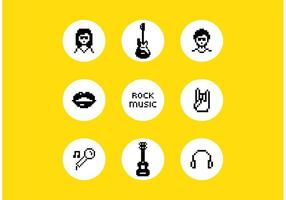 Vector Pixel Rock Music Symbols