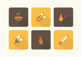 Camp Fire And Marshmallows Vector Icons