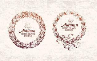 Vetor de borda de quadro de outono desenhado à mão livre