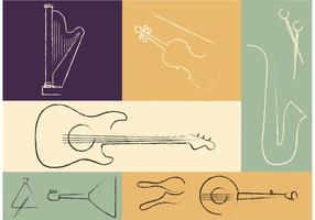 Instrumentos musicales libres del vector