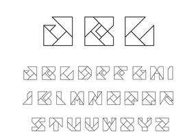 Origami Alfabeto Vectores