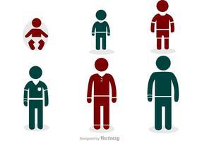Crecimiento Man Stick Figura Iconos Vector Pack