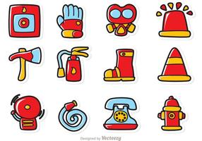 Cartoon Fireman Iconos Vector Pack