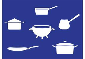 White Pans with Handle Vectors