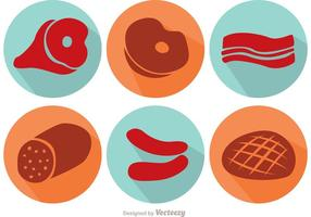Long Shadow Meat Vector Icons