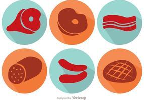 Vector Vectoren Pictogrammen Met Lang Schaduw Vlees