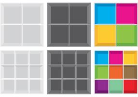 Simple Square 3D Shelves vector