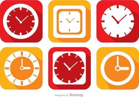 Platte Klok En Tijd Pictogrammen Vector Pack