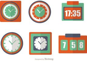 Klok En Tijd Pictogrammen Vector Pack