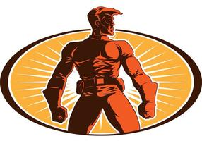 Superhéroe del vector del guardián de la ciudad