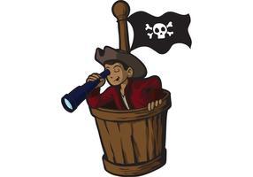 Menino pirata no ninho de corvos