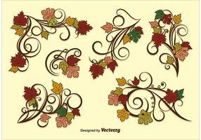 Ornamentos del vector de la hoja del otoño