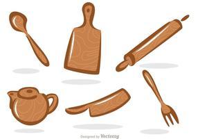 Ensemble vectoriel d'ustensiles de cuisine en bois
