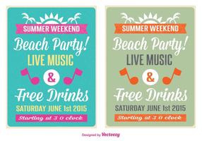 Retro Beach Party Flyer vector