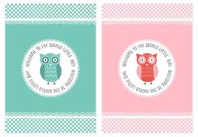 Free Vector Baby Shower Owl Cards