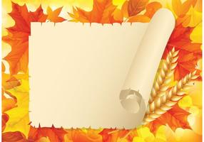 Libere las hojas de otoño con el papel viejo vector de desplazamiento