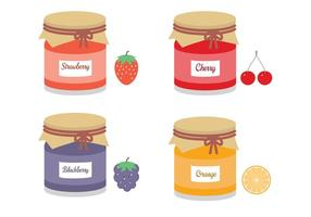 Mason Jars With Fruit Jams Vector