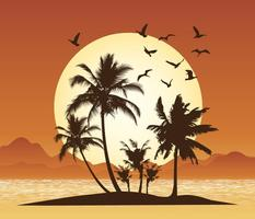 Tropical Scene Illustration vector
