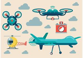 Airplane-and-drone-vector-set