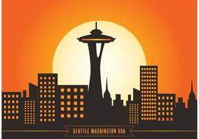 Seattle horisont vektor illustration