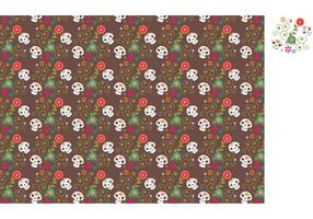Vettore Dia De Los Muertos Sugar Skull Pattern