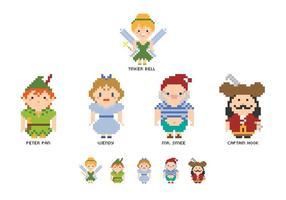 Pixel Peter Pan Characters Vector