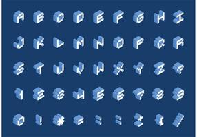 Free Isometric Pixel Schriftart Vektor
