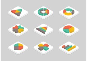 Gratis Vlak Isometrische Grafiek Vector Icon Set