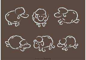 Ensemble vectoriel de moutons dessiné à la craie