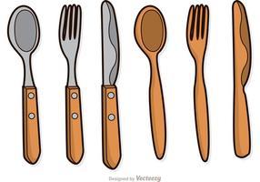 Paquete de vectores de utensilios de madera