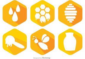 Vetor de ícones de abelhas e mel