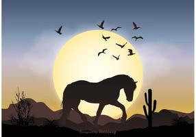 Wild Horse Landscape Illustration vector
