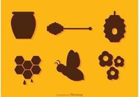 Silueta, abeja, miel, vectores