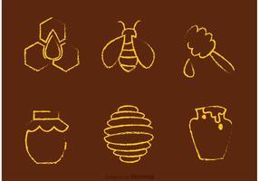 Vetores de mel e abelha desenhados com giz