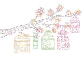 Vintage Bird Cage in Tree Vector