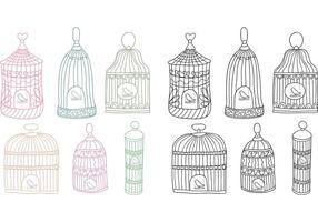Vector libre de la jaula del pájaro de la vendimia