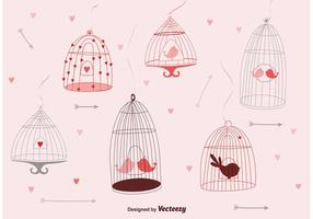 Cute Bird Cages vector