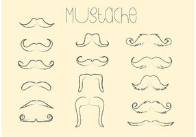 Hand Drawn Vector Moustache Set