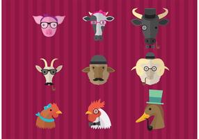 Hipster Farm Animals vector