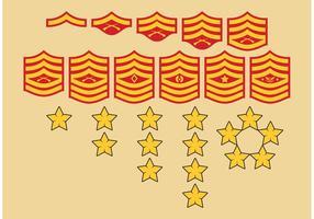 Símbolos de los rangos militares vector