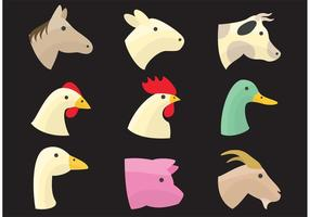 Farm Animal Heads vector