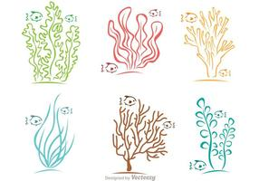 Coral de corais e vetor de peixes coloridos