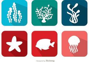 Plano de corales de arrecifes y vectores de peces